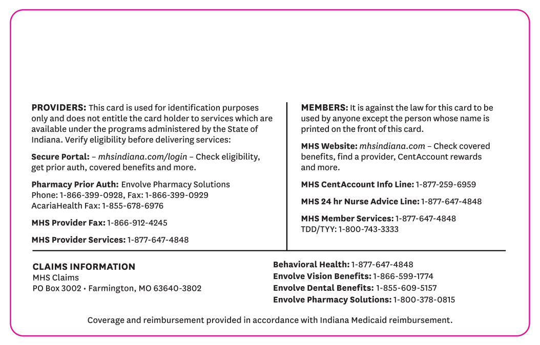 back of Hoosier Healthwise card